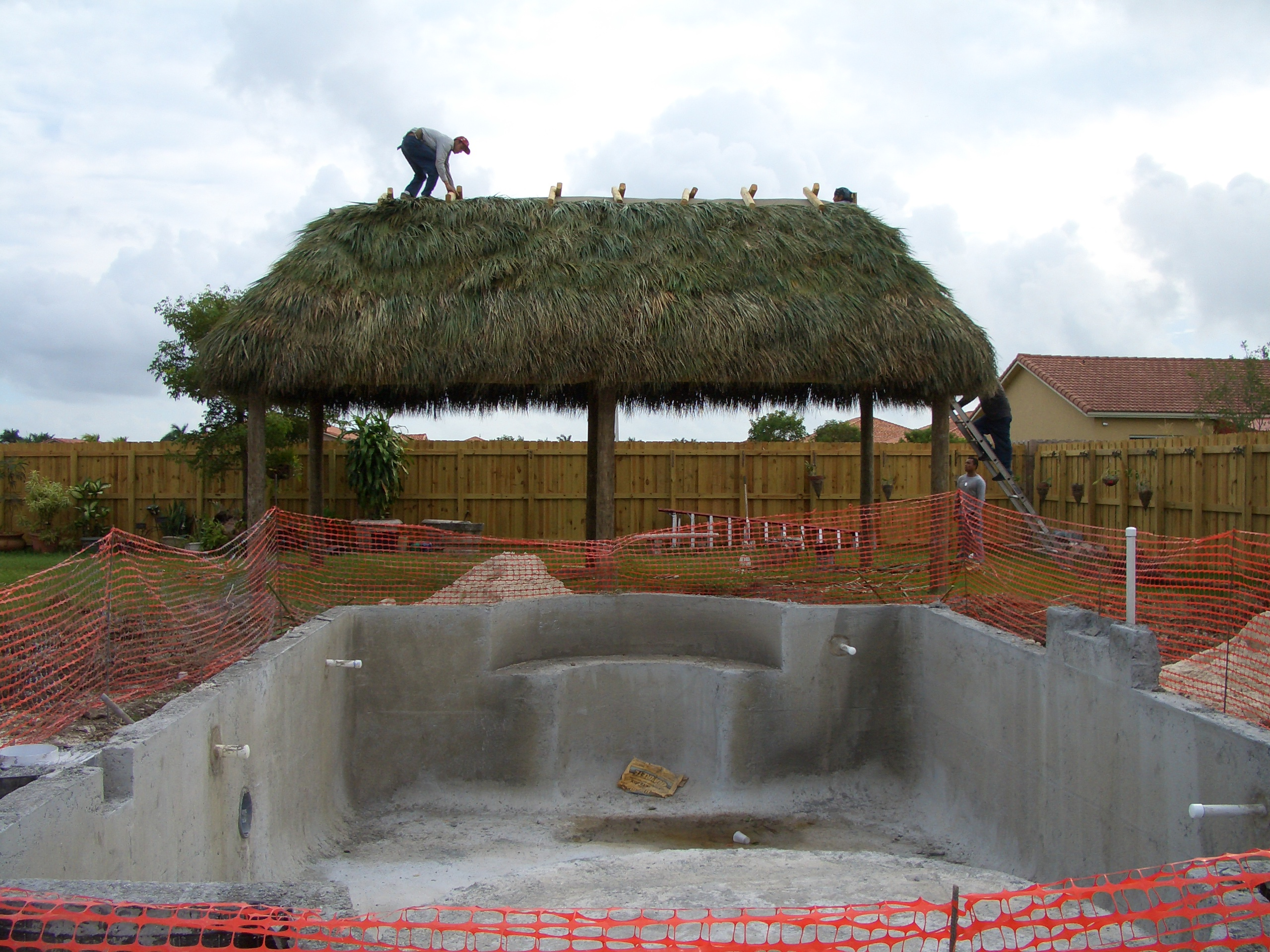 pool build and tikit hut build