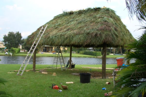 tiki hut roof install