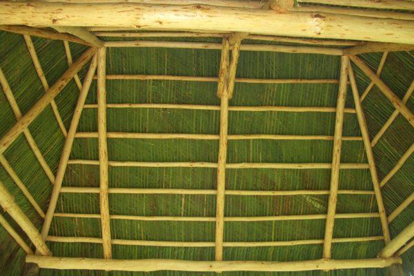tiki hut green interior roof