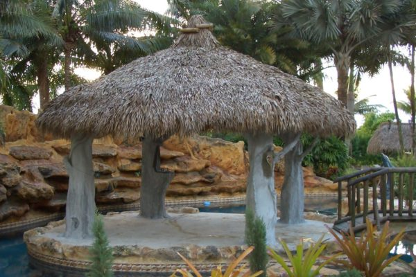 tropical theme tiki hut property