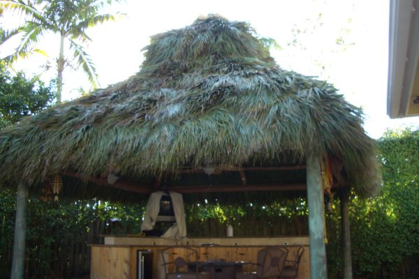 tiki hut bar and table