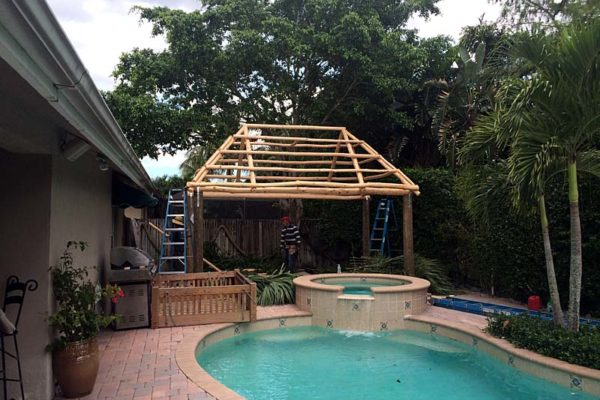 tiki hut under construction