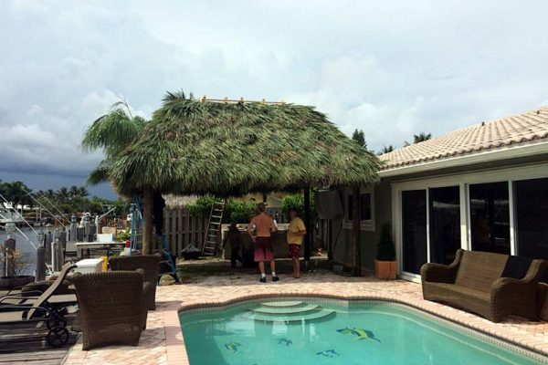 tiki hut construction completion