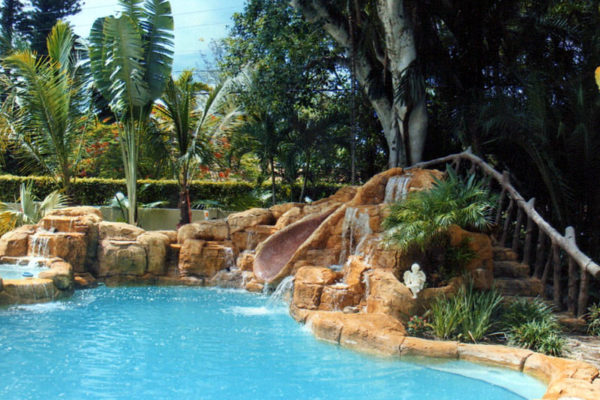 tropical theme residential pool backyard